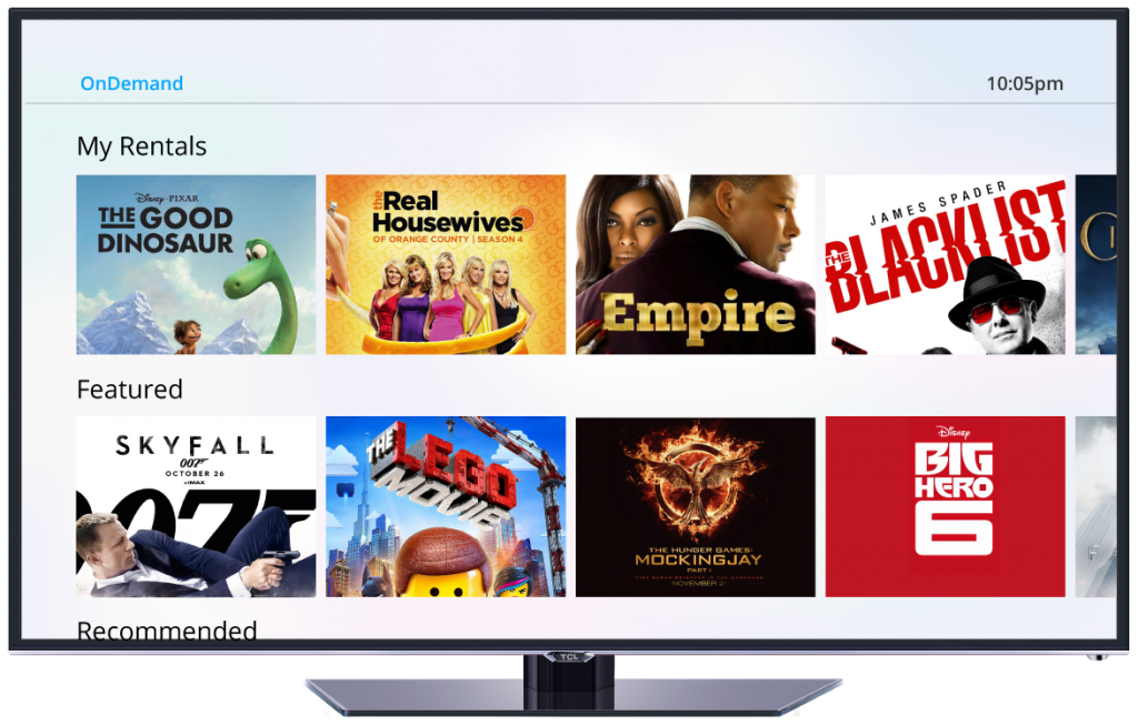 Arris Group set top box UI for cable and video on demand
