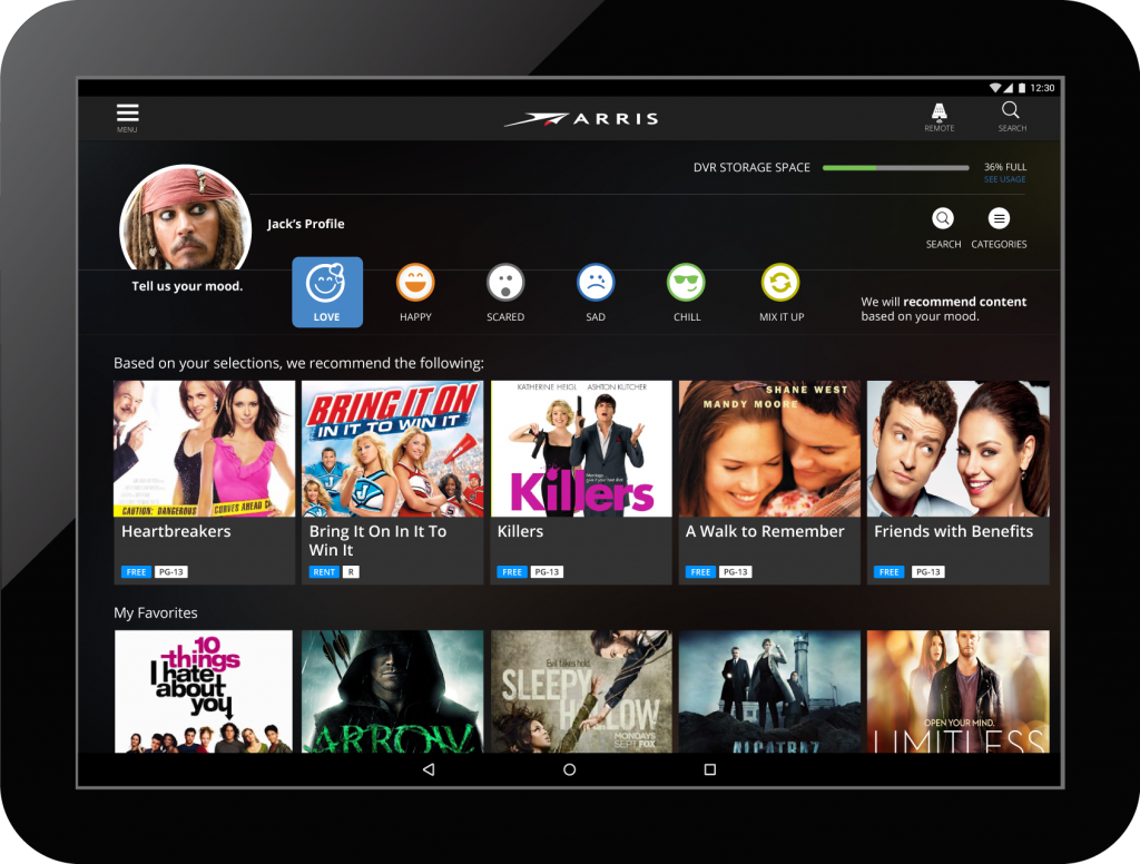 Cable streaming video on demand home screen