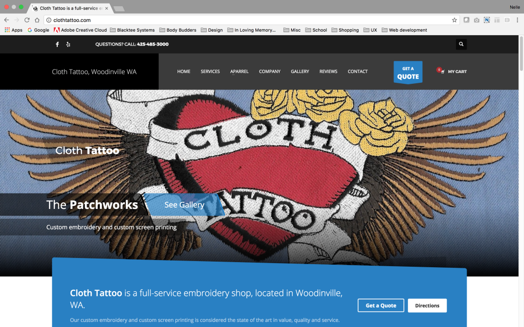Cloth Tattoo website home page